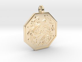 Cat Celtic Octogon Pendant in 14k Gold Plated Brass