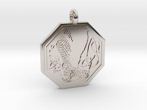 Birds Celtic Octogonal Pendant in Platinum