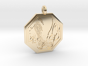 Birds Celtic Octogonal Pendant in 14k Gold Plated Brass