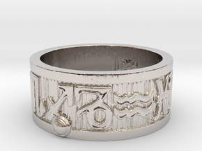 Zodiac Sign Ring Sagittarius / 20mm in Rhodium Plated Brass