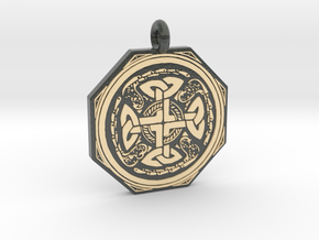 Celtic Cross Octogonal Pendant in Glossy Full Color Sandstone
