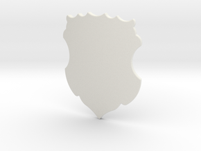 Ornate Shield (Plain) in White Natural Versatile Plastic: Small