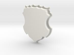 Ornate Shield (Framed) in White Natural Versatile Plastic: Small