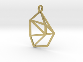 Bent Hex Droplet Necklace in Natural Brass