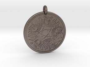 Birds Celtic Round Pendant in Polished Bronzed-Silver Steel