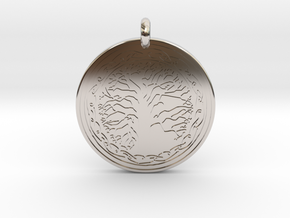 Sacred Tree Of Life Round Pendant in Rhodium Plated Brass