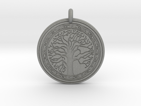 Sacred Tree Of Life Round Pendant in Gray PA12