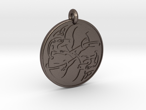 Celtic Dog round Pendant in Polished Bronzed-Silver Steel