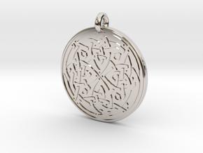 Celtic Spiritual Journey round Pendant in Rhodium Plated Brass