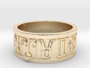 Zodiac Sign Ring Aries / 21mm in 14k Gold Plated Brass