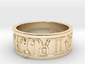 Zodiac Sign Ring Aries / 23mm in 14K Yellow Gold