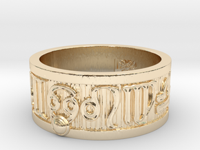 Zodiac Sign Ring Cancer / 20.5mm in 14k Gold Plated Brass