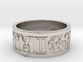 Zodiac Sign Ring Taurus / 22mm in Rhodium Plated Brass