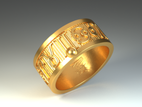 Zodiac Sign Ring Virgo / 23mm in Polished Brass
