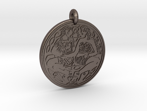 Divine Couple Celtic - Round Pendant in Polished Bronzed-Silver Steel
