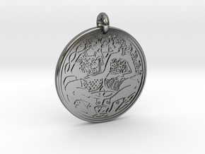 Divine Couple Celtic - Round Pendant in Polished Silver