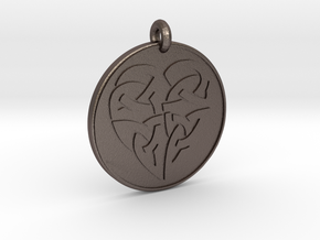 Heart - Round Celtic Pendant in Polished Bronzed-Silver Steel