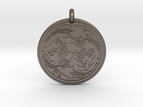 Dragon Celtic - Round Pendant in Polished Bronzed-Silver Steel