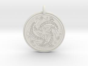 Nehalennia Dolphin Celtic - Round Pendant in White Natural Versatile Plastic
