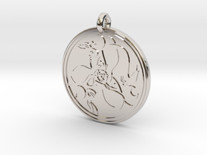 Hare Celtic - Round Pendant in Rhodium Plated Brass