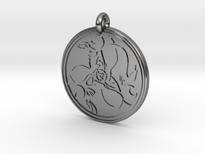 Hare Celtic - Round Pendant in Polished Silver