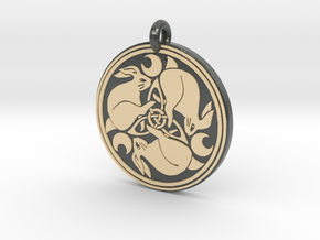 Hare Celtic  - Round Pendant in Glossy Full Color Sandstone