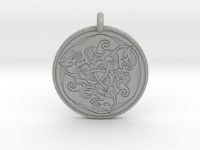 Cat Celtic  - Round Pendant in Aluminum