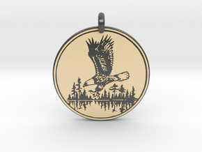 Bald Eagle Soaring Totem Pendant in Glossy Full Color Sandstone