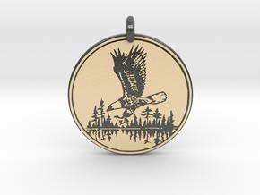 Bald Eagle Soaring Totem Pendant in Glossy Full Color Sandstone