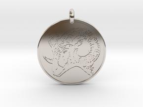 Big Horn Sheep  Animal Totem Pendant in Rhodium Plated Brass