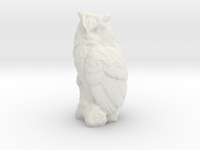 O Scale Owl in White Natural Versatile Plastic