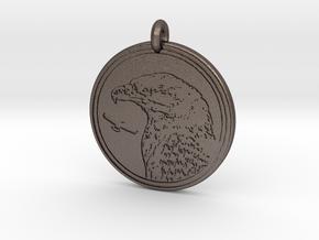 Bald Eagle Animal Totem Pendant in Polished Bronzed-Silver Steel
