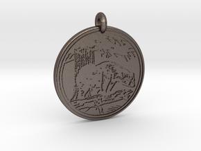 Black Bear Animal Totem Pendant in Polished Bronzed-Silver Steel