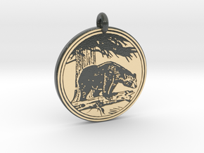 Black Bear Animal Totem Pendant in Glossy Full Color Sandstone