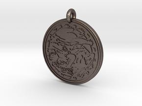 American Bullfrog  Animal Totem Pendant in Polished Bronzed-Silver Steel