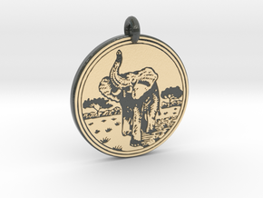 African Elephant Animal Totem Pendant in Glossy Full Color Sandstone
