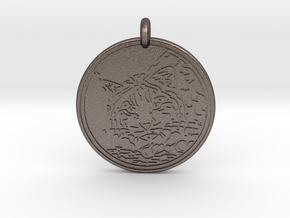 Bobcat Animal Totem Pendant in Polished Bronzed-Silver Steel