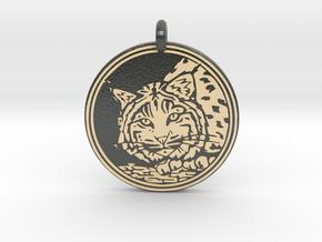 Bobcat Animal Totem Pendant in Glossy Full Color Sandstone