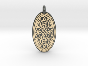 Celtic Cross - Oval Pendant in Glossy Full Color Sandstone