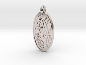 Sacred Tree/Tree of Life - Oval Pendant in Platinum