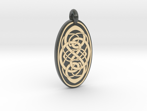 Knotwork - Oval Pendant in Glossy Full Color Sandstone