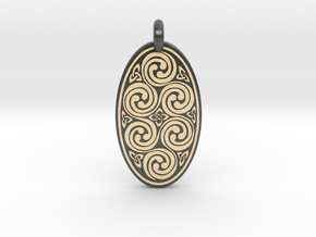 Spirals - Oval Pendant in Glossy Full Color Sandstone