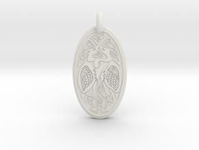 Birds - Oval Pendant in White Natural Versatile Plastic