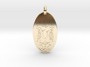 Birds - Oval Pendant in 14K Yellow Gold