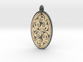 Nehalennia - Oval Pendant in Glossy Full Color Sandstone