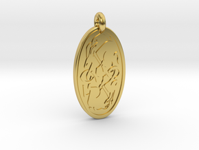 Hare - Oval Pendant in Polished Brass