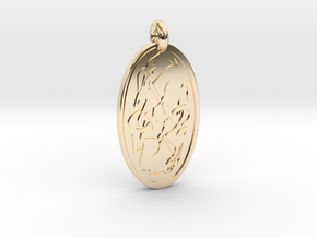 Hare - Oval Pendant in 14k Gold Plated Brass