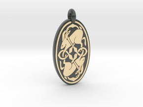 Hare - Oval Pendant in Glossy Full Color Sandstone