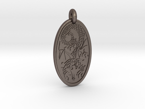 Dragon - Oval Pendant in Polished Bronzed-Silver Steel