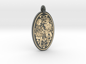 Divine Couple - Round Pendant in Glossy Full Color Sandstone
